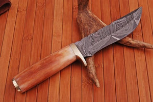 Custom Hand Forged Damascus Hunting Knife Bone & Brass Guard Handle-AJ 874