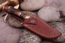 Load image into Gallery viewer, Custom Hand Forged Damascus Hunting Knife Stag Handle brass guard- Q-376