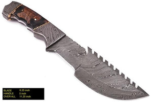 Custom Hand Forged Damascus Hunting Knife  Hunting Tracker Knife Ram Horn Handle-AJ 902