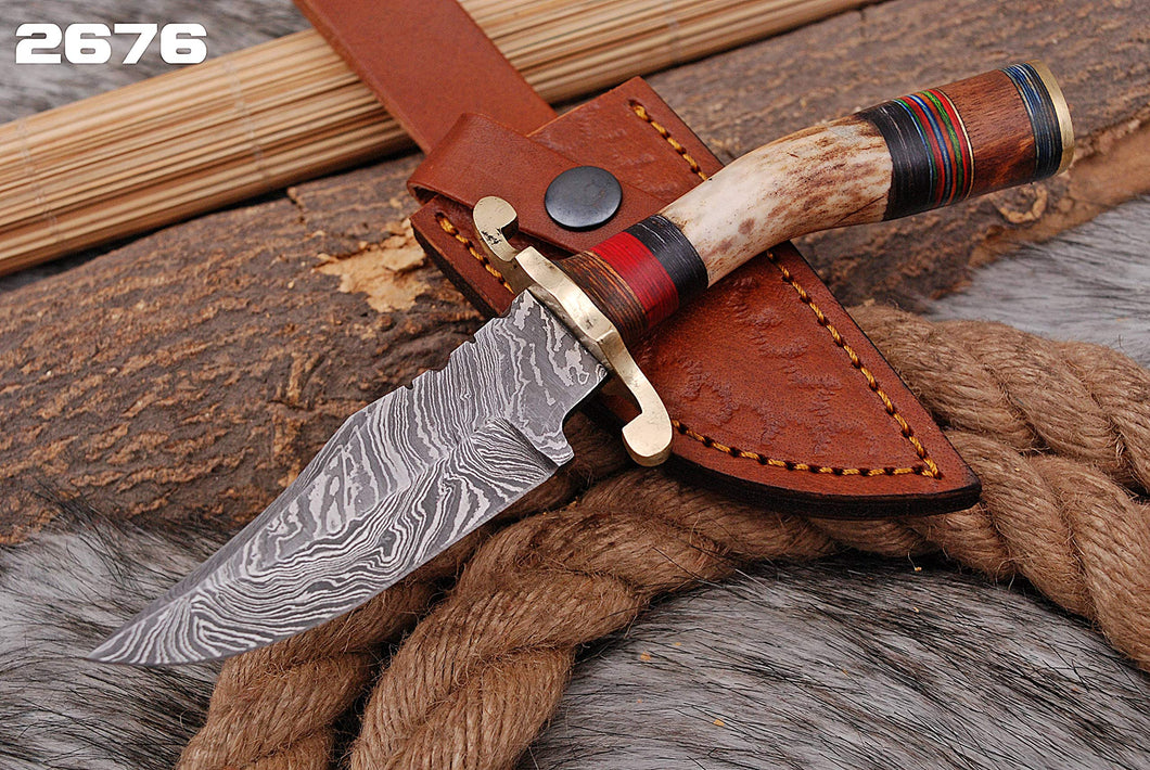 Custom Hand forged Damascus Hunting Knife Stag Handle brass guard with Pure Leather sheath- AJ 2676