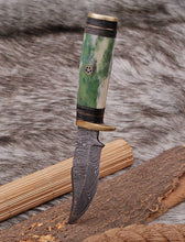 Load image into Gallery viewer, Custom Hand Made Forged Damascus Steel Hunting Knife Brass Guard with Bone Handle-AJ 2659