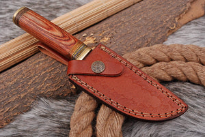 Custom Hand Made Damascus Steel Hunting Knife Brass Guard with Stained wood Handle-AJ 2660