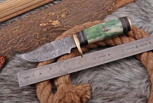 Custom Hand Made Forged Damascus Steel Hunting Knife Brass Guard with Bone Handle-AJ 2659