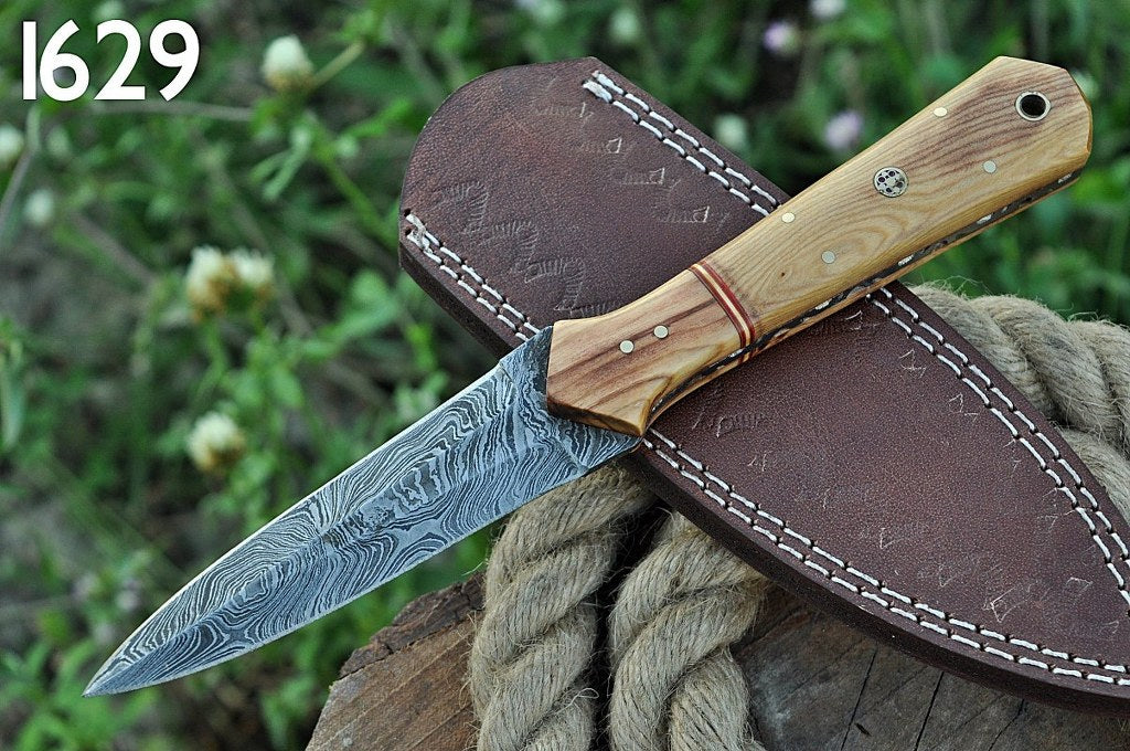 Damascus Steel Hunting boot Knife OLIVE wood Handle-AJ-1629