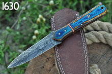 Load image into Gallery viewer, Custom Hand Forged Damascus Steel Hunting boot Knife Stain wood Handle-AJ-1630