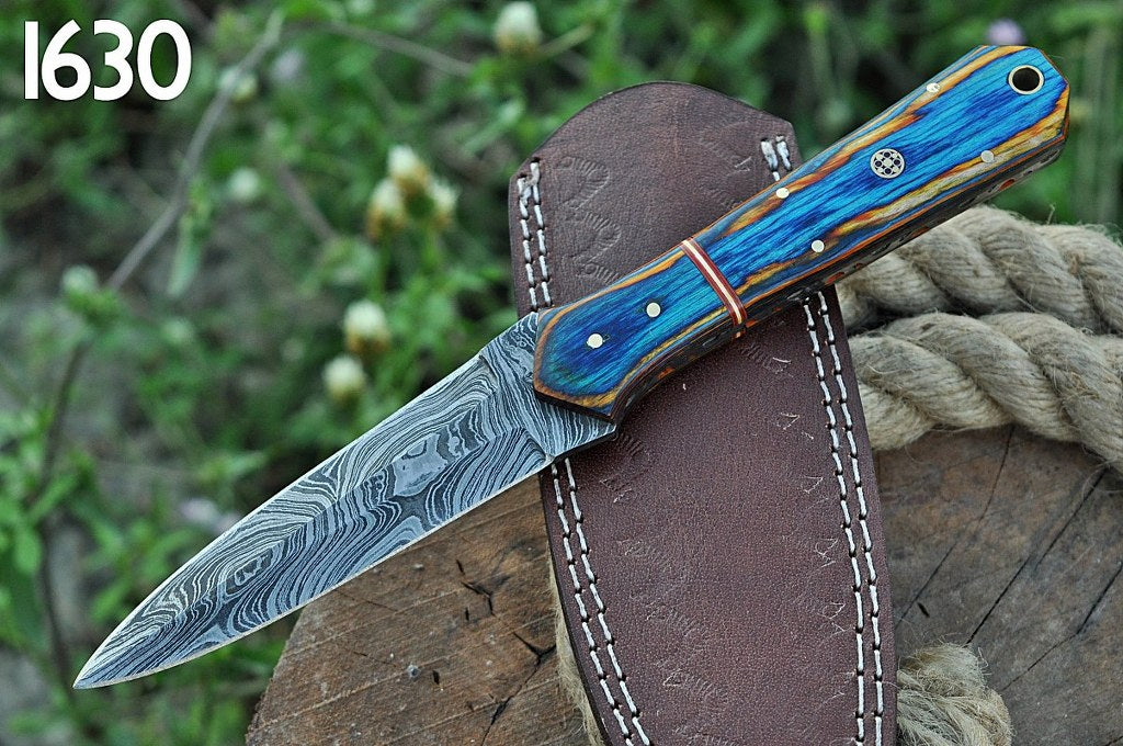 Custom Hand Forged Damascus Steel Hunting boot Knife Stain wood Handle-AJ-1630