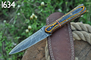 Damascus Steel Hunting boot Knife Stain wood Handle-AJ-1634