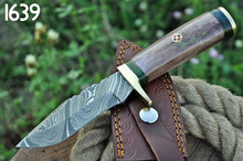 Load image into Gallery viewer, Damascus Steel Hunting Knife Brass Guard with Bone Handle-AJ-1639