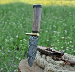 Damascus Steel Hunting Knife Brass Guard with Bone Handle-AJ-1639