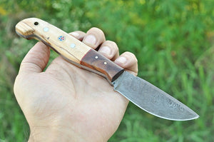 Hand Forged Damascus Hunting Knife Olive & Rose Wood Handle-AJ-1971
