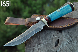 Custom Hand Forged Damascus Steel Hunting Knife Brass Guard with Bone Handle-AJ-1651