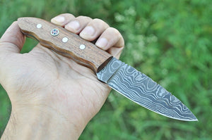 Hand Forged Damascus Hunting Knife Rose Wood Handle-AJ-1990