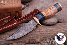 Load image into Gallery viewer, Damascus Hunting Knife Brass Guard & Olive Wood Handle -Q 345