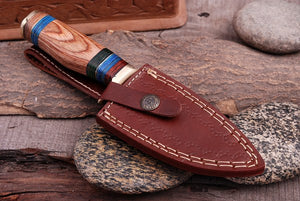 Damascus Hunting Knife Brass Guard & Olive Wood Handle -Q 345