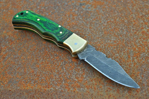 Damascus Folding Knife Stain Wood Handle with brass bolster-AJ-1663