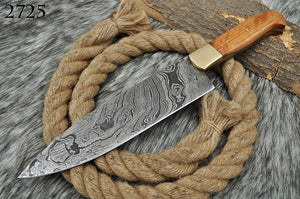 Custom Hand Forged Damascus Steel Hunting Chef Knife with Brass Bolster& Olive wood Handle AJ 2725