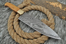 Load image into Gallery viewer, Custom Hand Forged Damascus Steel Hunting Chef Knife with Brass Bolster& Olive wood Handle AJ 2725