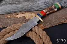 Load image into Gallery viewer, Custom Hand Forged Damascus Steel Hunting Knife AJ 3179