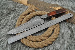 Custom Hand Forged Damascus Steel Hunting Chef Knife Damascus Bolster with Rose wood Handle AJ 2742