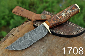 Damascus Steel Hunting Knife Brass Guard with Stain wood Handle-AJ-1708