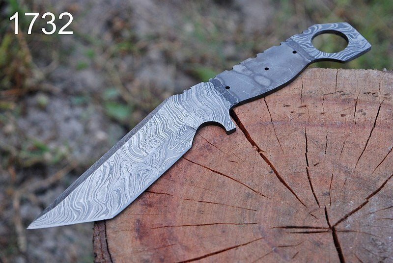 Custom Hand Forged Damascus steel hunting knife Tracker hunting knife full tang blank blade-AJ-1732