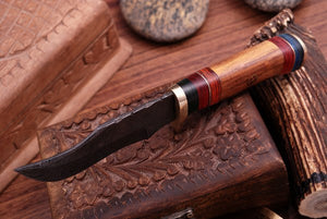 Damascus Hunting Knife Brass Guard & Rose Wood Handle -Q 407