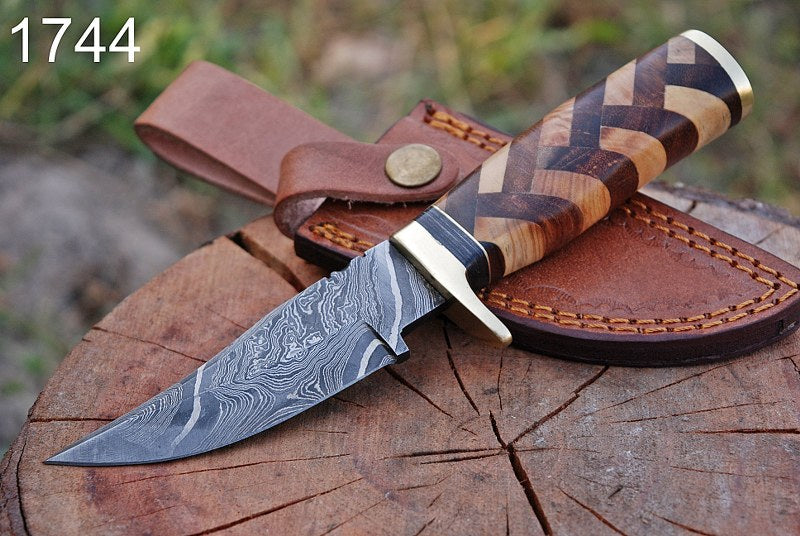 Damascus Hunting Knife Brass Guard & Olive Wood & Rose wood Handle-AJ-1744