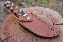 Load image into Gallery viewer, Damascus Hunting Knife Brass Guard & Olive Wood & Rose wood Handle-AJ-1744