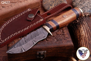 Damascus Hunting Knife Brass Guard & Rose Wood Handle -Q427