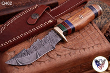 Load image into Gallery viewer, Custom Hand Forged Damascus Hunting Knife Brass Guard & Rose Wood Handle -Q462