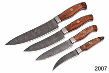 Load image into Gallery viewer, Handmade forged Damascus Chef Knife Set Steel Bolster Walnut Handle -AJ-2007
