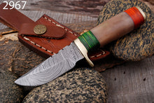 Load image into Gallery viewer, Custom Hand Forged Damascus steel Hunting Knife  Brass Guard with Bone Handle AJ-2967