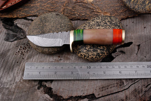 Custom Hand Forged Damascus steel Hunting Knife  Brass Guard with Bone Handle AJ-2967