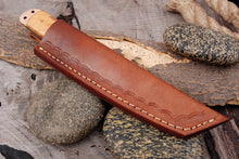 Load image into Gallery viewer, Custom Hand Forged High Corban Steel  Hunting Tanto Knife Copper & olivewood Handle -AJ 2971
