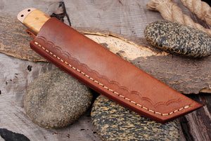 Custom Hand Forged High Corban Steel  Hunting Tanto Knife Copper & olivewood Handle -AJ 2971