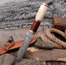 Load image into Gallery viewer, Custom Hand Forged Damascus steel Hunting Knife Brass Guard with rose wood  & bone Handle AJ-2964