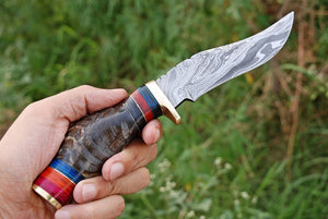 Custom Hand forged Damascus Hunting Knife Brass Guard Ram horn Handle-AJ-2065