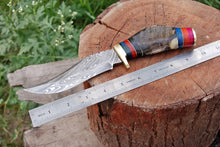 Load image into Gallery viewer, Custom Hand forged Damascus Hunting Knife Brass Guard Ram horn Handle-AJ-2065
