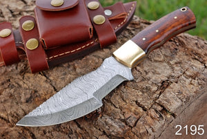 Custom Hand Forged Damascus Tracker Hunting Knife Brass Bolster Rose Wood Handle-AJ-2195