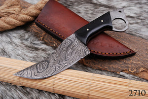 Custom Hand Forged Damascus Steel Hunting Chef Knife with Bull Horn Handle AJ 2710