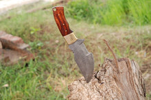 Load image into Gallery viewer, Custom Hand Forged Damascus Tracker Hunting Knife Brass Bolster Rose Wood Handle-AJ-2195