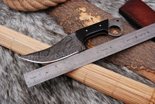 Load image into Gallery viewer, Custom Hand Forged Damascus Steel Hunting Chef Knife with Bull Horn Handle AJ 2710