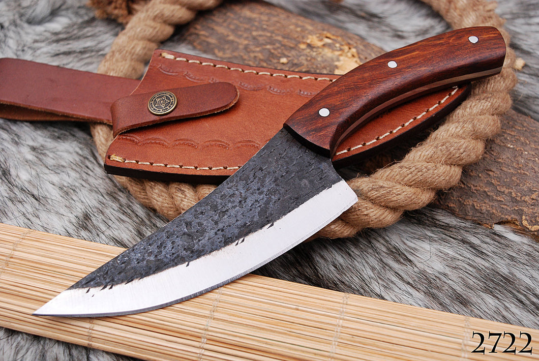 Customs Hand Forged Railroad Spike Carbon Steel Hunting Knife Rose wood Handle-AJ-2722