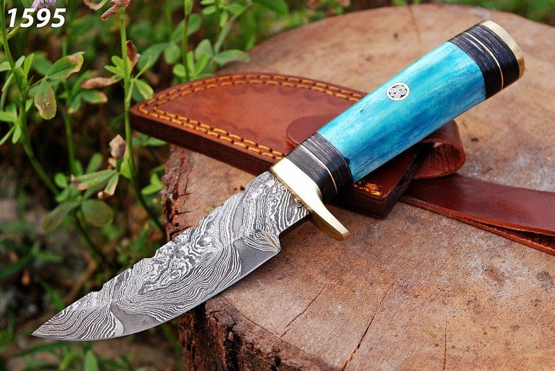 Damascus Steel Hunting Knife Brass Guard with Bone Handle-AJ-1595