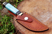 Load image into Gallery viewer, Damascus Steel Hunting Knife Brass Guard with Bone Handle-AJ-1595