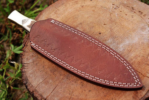 Custom Hand Forged Damascus Steel Hunting boot Knife brass bolster Handle-AJ-1613