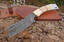 Load image into Gallery viewer, Custom Hand Forged Damascus Hunting Tracker Knife white bone handle-AJ-2252