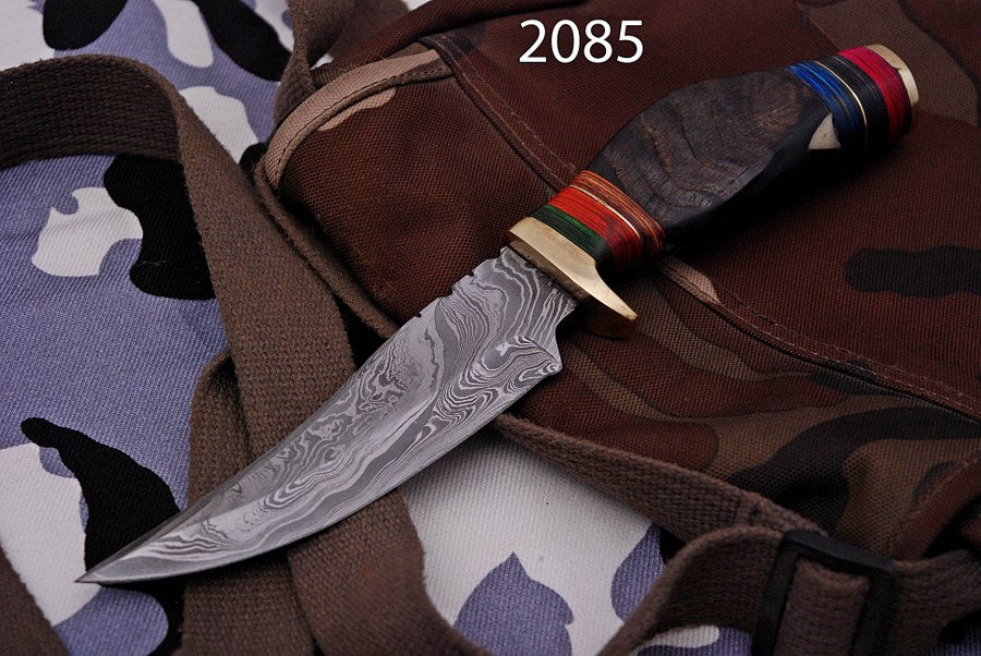 Custom Hand forged Damascus Hunting Knife Brass Guard Ram horn Handle-AJ--2085