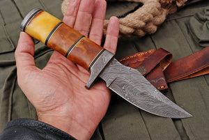 Custom Hand Made Damascus Steel Hunting Knife STEEL BOLSTER with White Bone Handle-AJ 2792