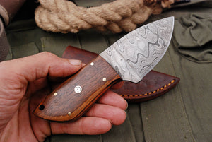 Custom Hand Forged Carbon Steel Hunting MINATURE Knife with Olive Wood Handle AJQ-2794